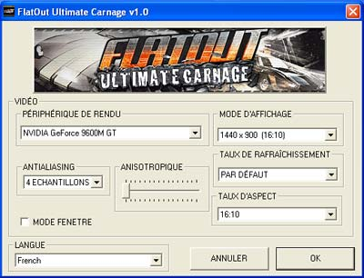 flatout ultimate carnage settings macbook pro